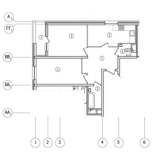2-комнатная квартира на продажу (58,2 м<sup>2</sup>)