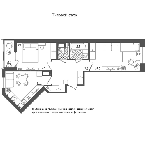 2-комнатная квартира на продажу (59,5 м<sup>2</sup>)