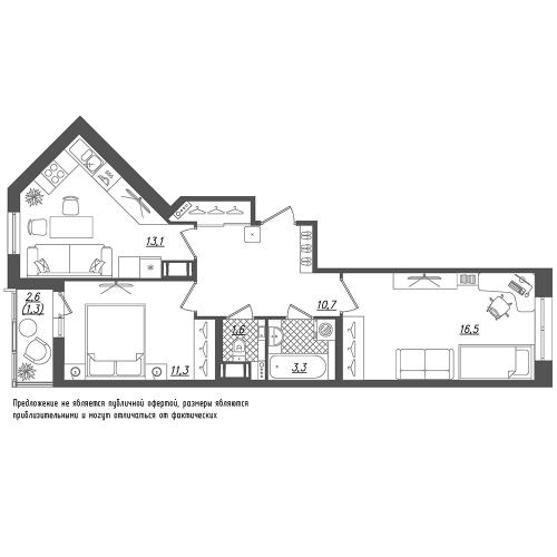 2-комнатная квартира на продажу (57,8 м<sup>2</sup>)