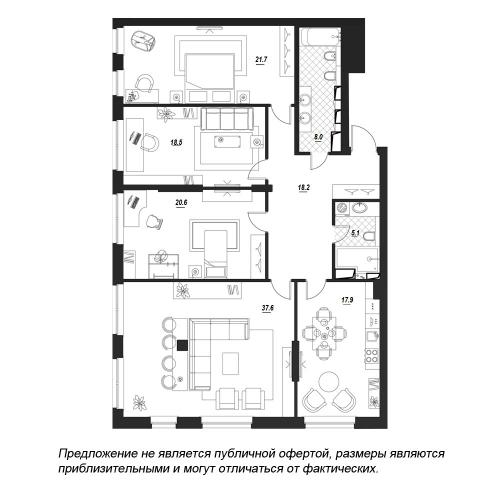 4-комнатная квартира на продажу (149,8 м<sup>2</sup>)