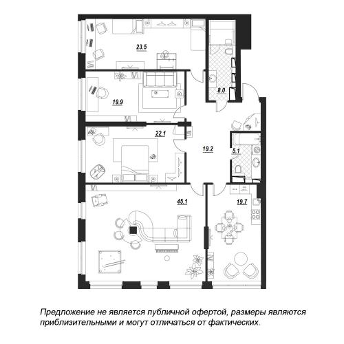 4-комнатная квартира на продажу (165,1 м<sup>2</sup>)