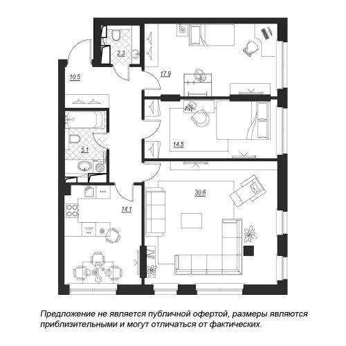 3-комнатная квартира на продажу (96,5 м<sup>2</sup>)