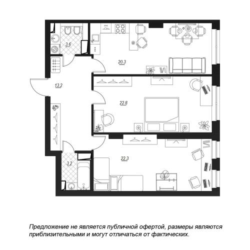 2-комнатная квартира на продажу (86,7 м<sup>2</sup>)