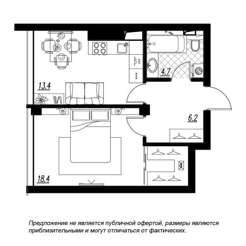 1-комнатная квартира на продажу (44,4 м<sup>2</sup>)