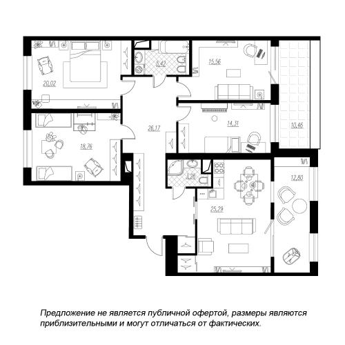 4-комнатная квартира на продажу (144,7 м<sup>2</sup>)