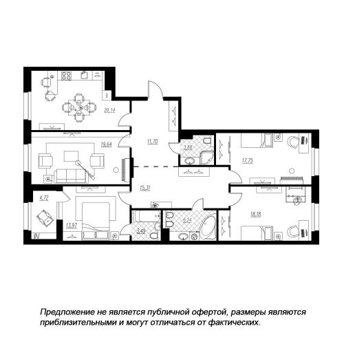 4-комнатная квартира на продажу (132,7 м<sup>2</sup>)