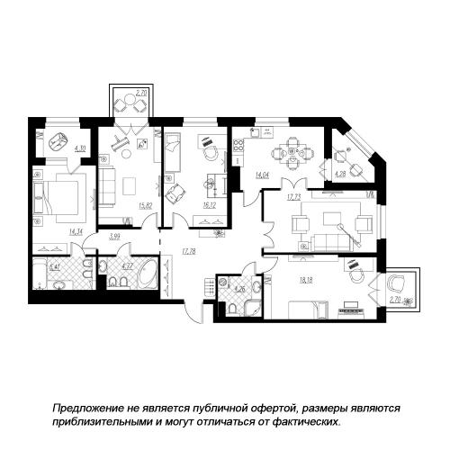 5-комнатная квартира на продажу (138,4 м<sup>2</sup>)