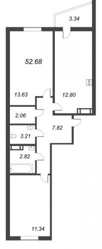 2-комнатная квартира на продажу (52,7 м<sup>2</sup>)