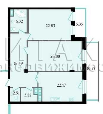 2-комнатная квартира на продажу (107,7 м<sup>2</sup>)