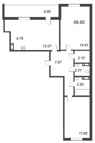 3-комнатная квартира на продажу (58,7 м<sup>2</sup>)