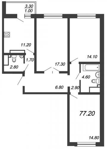 3-комнатная квартира на продажу (78,4 м<sup>2</sup>)
