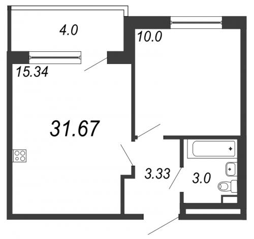 2-комнатная квартира на продажу (31,7 м<sup>2</sup>)