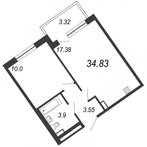 2-комнатная квартира на продажу (34,8 м<sup>2</sup>)