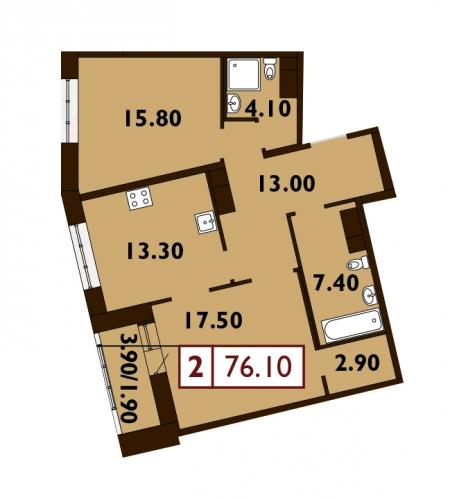 2-комнатная квартира на продажу (76,4 м<sup>2</sup>)