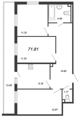 3-комнатная квартира на продажу (71,8 м<sup>2</sup>)