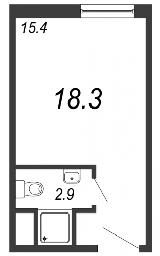 Студия на продажу (18,3 м<sup>2</sup>)