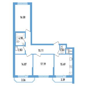 3-комнатная квартира на продажу (91,0 м<sup>2</sup>)