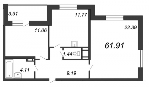 2-комнатная квартира на продажу (61,9 м<sup>2</sup>)