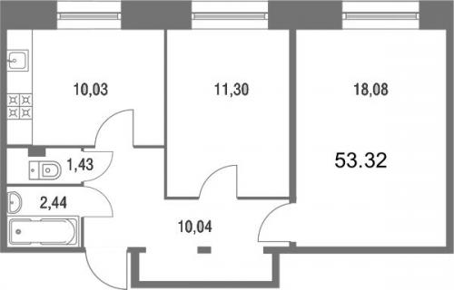 2-комнатная квартира на продажу (52,4 м<sup>2</sup>)