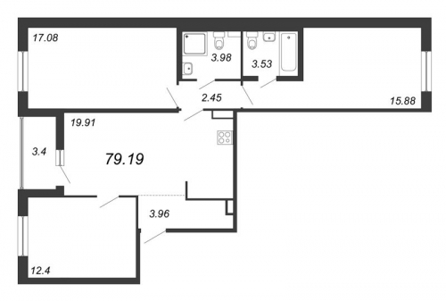 4-комнатная квартира на продажу (79,2 м<sup>2</sup>)
