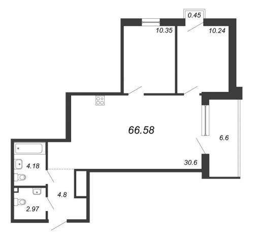 3-комнатная квартира на продажу (66,6 м<sup>2</sup>)