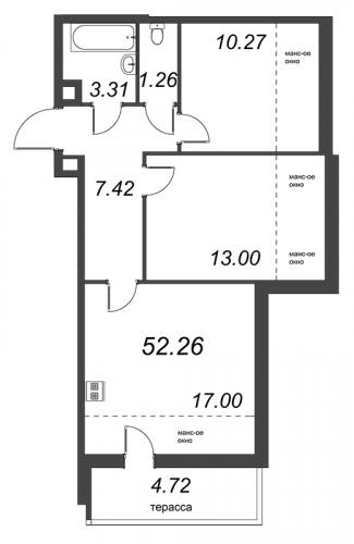 3-комнатная квартира на продажу (52,3 м<sup>2</sup>)