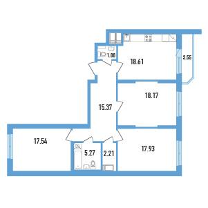 3-комнатная квартира на продажу (98,0 м<sup>2</sup>)