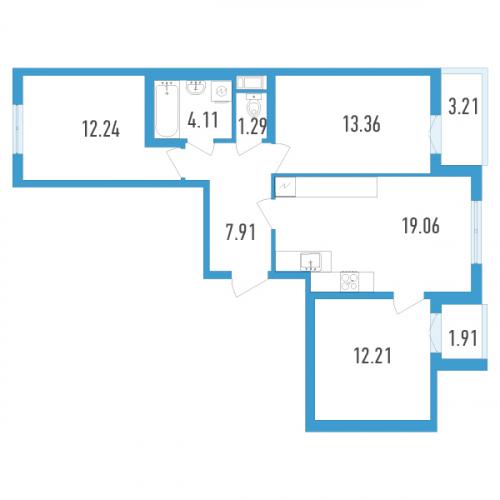 3-комнатная квартира на продажу (72,0 м<sup>2</sup>)
