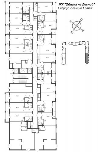 1-комнатная квартира на продажу (33,2 м<sup>2</sup>)