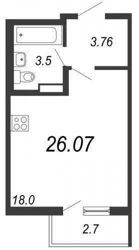 Студия на продажу (26,1 м<sup>2</sup>)