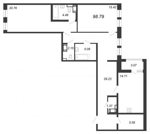 3-комнатная квартира на продажу (98,8 м<sup>2</sup>)