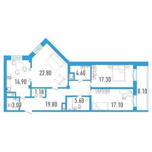 3-комнатная квартира на продажу (111,0 м<sup>2</sup>)