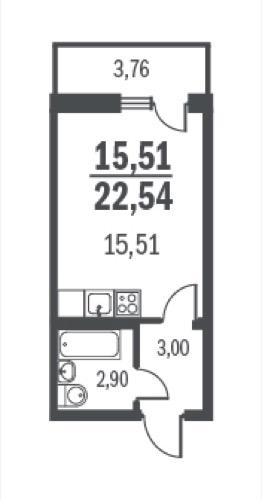 1-комнатная квартира на продажу (22,5 м<sup>2</sup>)