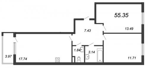 3-комнатная квартира на продажу (55,4 м<sup>2</sup>)
