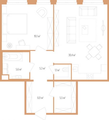 1-комнатная квартира на продажу (73,9 м<sup>2</sup>)