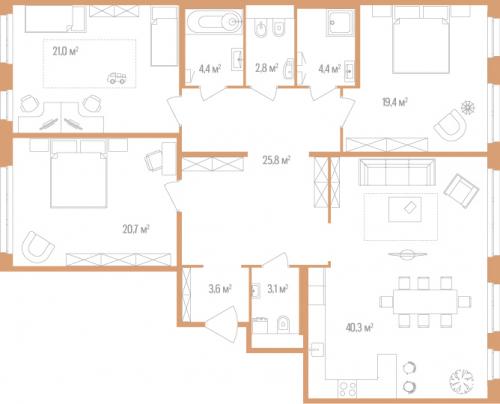 3-комнатная квартира на продажу (145,5 м<sup>2</sup>)