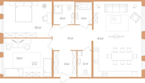 2-комнатная квартира на продажу (116,1 м<sup>2</sup>)