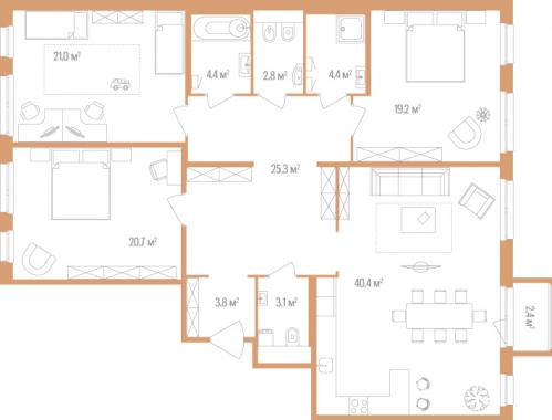 3-комнатная квартира на продажу (145,1 м<sup>2</sup>)