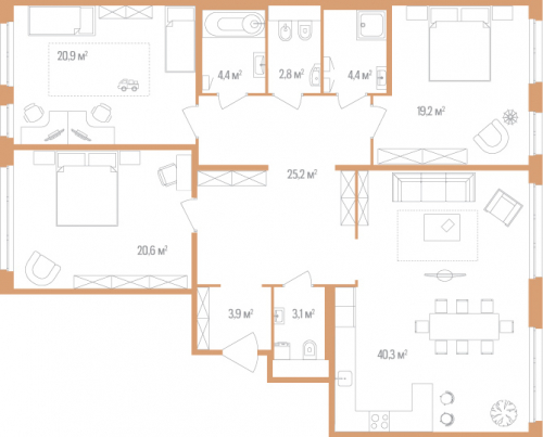 3-комнатная квартира на продажу (144,8 м<sup>2</sup>)