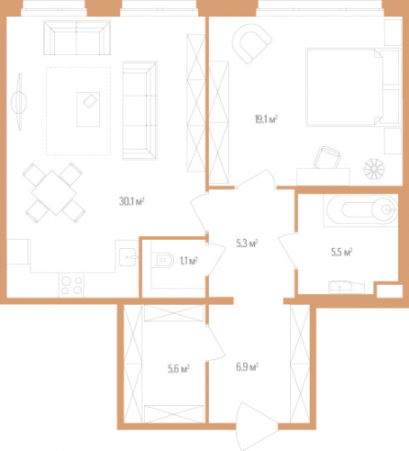 1-комнатная квартира на продажу (73,6 м<sup>2</sup>)