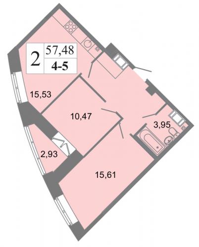 2-комнатная квартира на продажу (57,5 м<sup>2</sup>)
