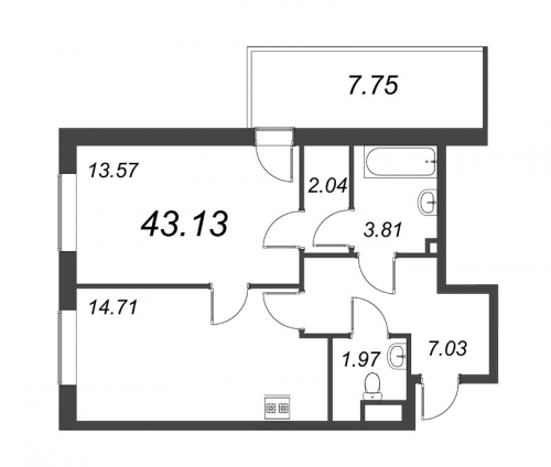 1-комнатная квартира на продажу (43,1 м<sup>2</sup>)