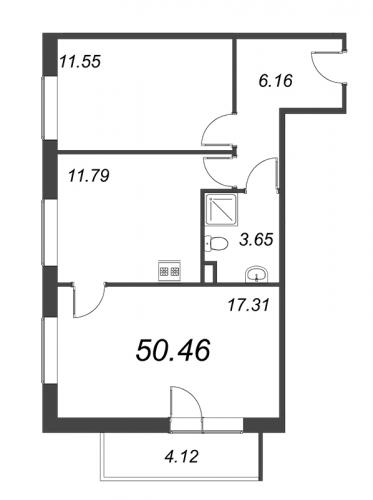 2-комнатная квартира на продажу (50,5 м<sup>2</sup>)