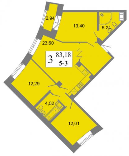 3-комнатная квартира на продажу (83,2 м<sup>2</sup>)