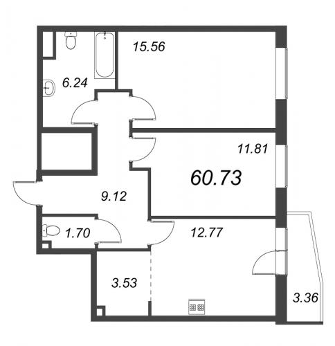 3-комнатная квартира на продажу (60,7 м<sup>2</sup>)