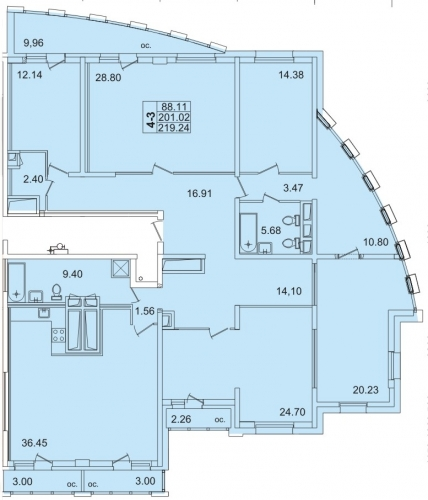 5-комнатная квартира на продажу (211,3 м<sup>2</sup>)