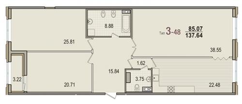 3-комнатная квартира на продажу (137,0 м<sup>2</sup>)