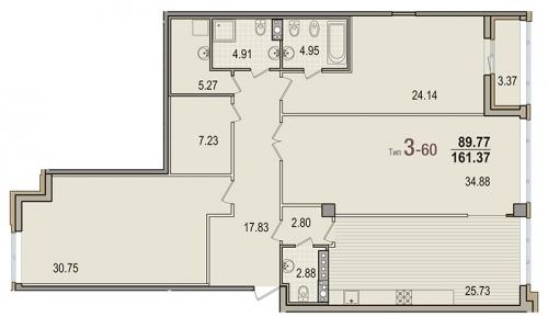 3-комнатная квартира на продажу (160,4 м<sup>2</sup>)