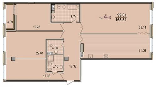 4-комнатная квартира на продажу (164,5 м<sup>2</sup>)