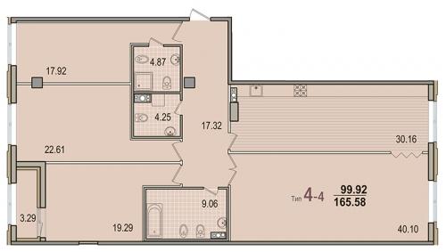 4-комнатная квартира на продажу (164,8 м<sup>2</sup>)